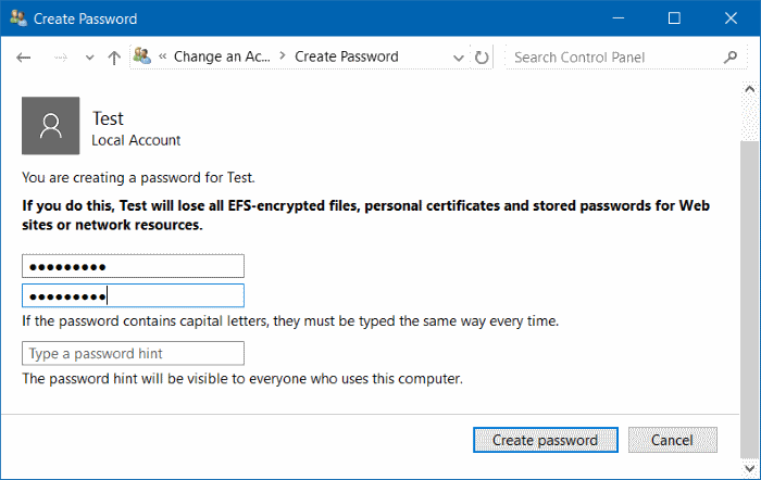 Menambahkan password akun di windows