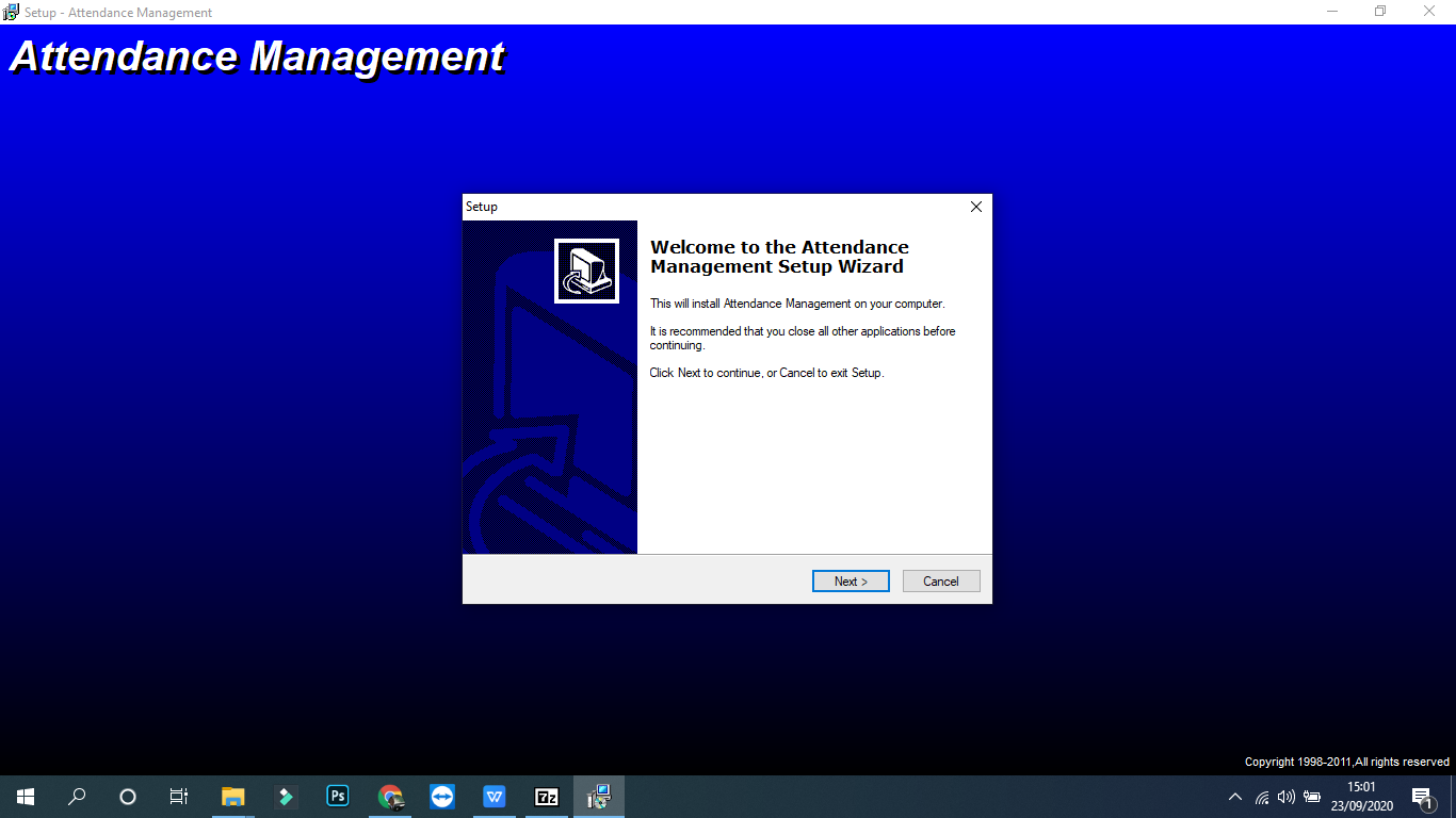 install software time attendace